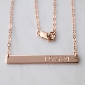 Jewelry - 14k Rose Gold Fill Engraved Bar Necklace